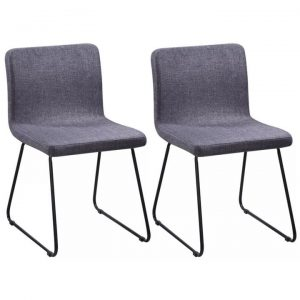 2 Fabric Dining Chairs Dark Grey Iron Legs | Afterpay | zip | Laybuy