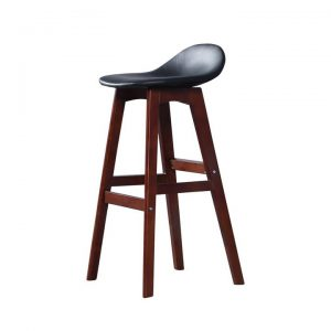 2x Bar Stool Beech Wood Barstools Dining Chair Kitchen Leather Black