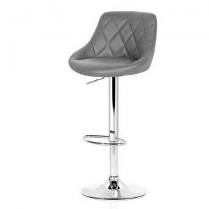 2x Bar Stools Kitchen Gas Lift Swivel Chairs Leather Chrome Grey |
