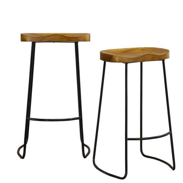 2x Industrial Bar Stools Kitchen Stool Wooden Barstools Dining Chair