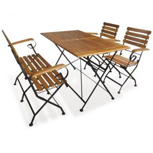 4 Piece Folding Outdoor Dining Set Solid Acacia Wood | Afterpay | zip
