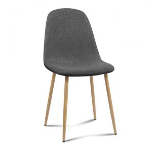 4x Adamas Fabric Dining Chairs - Dark Grey