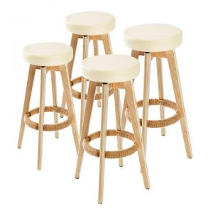 4x Oak Wood Bar Stool 74cm Leather OLIVIA | Afterpay | zipPay | PayItLater
