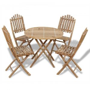 5 Piece Folding Outdoor Dining Set Bamboo | Afterpay | zip | Laybuy