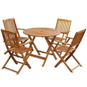 5 Piece Folding Outdoor Dining Set Solid Acacia Wood | Afterpay | zip