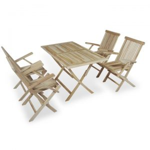 5 Piece Folding Outdoor Dining Set Solid Teak Wood | Afterpay | zip |
