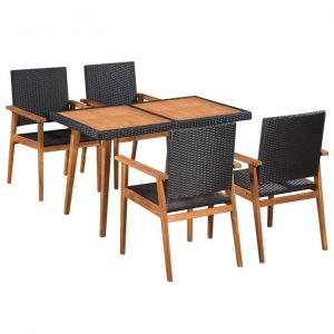 5 Piece Outdoor Dining Set Poly Rattan Black and Brown | Afterpay |