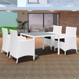 5 Piece Outdoor Dining Set Poly Rattan Cream White | Afterpay | zip |