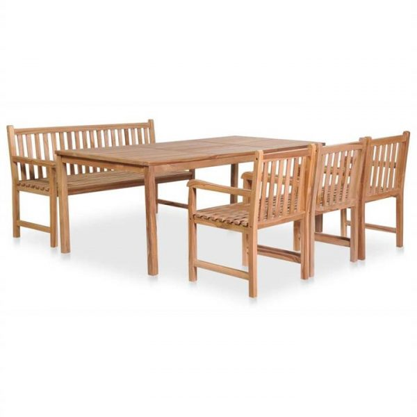 5 Piece Outdoor Dining Set Solid Teak Wood | Afterpay | zip | Laybuy