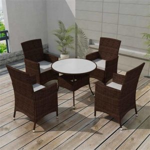 5 Piece Outdoor Dining Set with Cushions Poly Rattan Brown | Afterpay