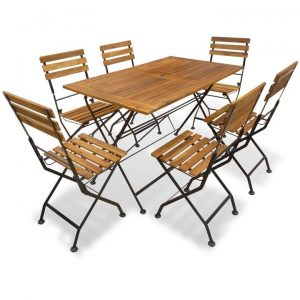 7 Piece Folding Outdoor Dining Set Solid Acacia Wood | Afterpay | zip