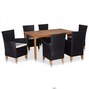 7 Piece Outdoor Dining Set Poly Rattan Black and Brown | Afterpay |
