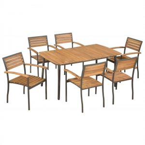 7 Piece Outdoor Dining Set Solid Acacia Wood and Steel | Afterpay |