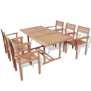 7 Piece Outdoor Dining Set Solid Teak Wood | Afterpay | zip | Laybuy