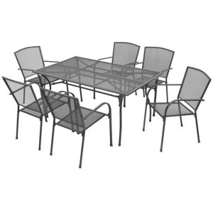 7 Piece Outdoor Dining Set Steel Anthracite | Afterpay | zip | Laybuy