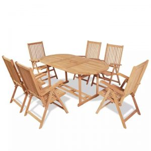7 Piece Outdoor Dining Set with Folding Chairs Solid Teak Wood |