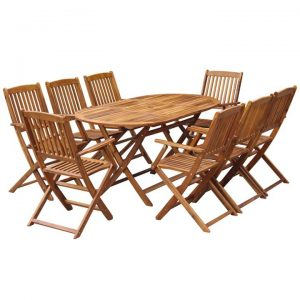 9 Piece Folding Outdoor Dining Set Solid Acacia Wood | Afterpay | zip