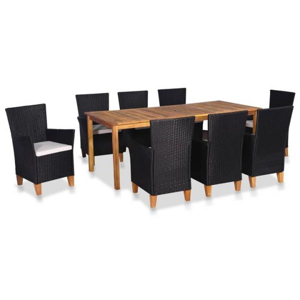 9 Piece Outdoor Dining Set Poly Rattan Black and Brown | Afterpay |