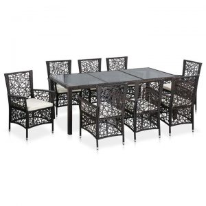 9 Piece Outdoor Dining Set Poly Rattan Brown | Afterpay | zip | Laybuy