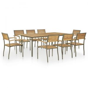 9 Piece Outdoor Dining Set Solid Acacia Wood and Steel | Afterpay |