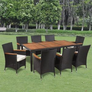 9 Piece Outdoor Dining Set with Cushions Poly Rattan | Afterpay | zip