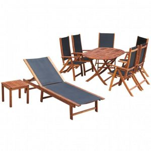 9 Piece Outdoor Dining Set with Cushions Solid Acacia Wood | Afterpay
