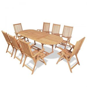 9 Piece Outdoor Dining Set with Folding Chairs Solid Teak Wood |