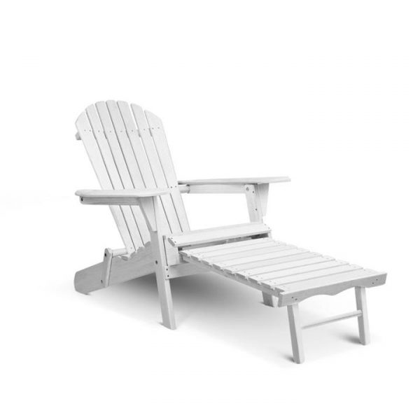 Adirondack Chair with Ottoman - White | Afterpay | zipPay | PayItLater