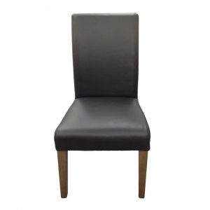 Alberta Top Grain Leather Dining Chair, Black / French Grey