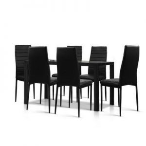 Astra 7-Piece Set Tempered Glass Dining S | Afterpay | zipPay | PayItLater