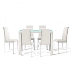 Astra 7-piece Dining Table and Chairs Dining Set Tempered Glass Leather Seater Metal Legs - White