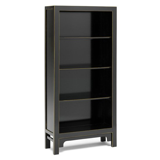 Avlion Large Wooden Bookcase In Black And Gold
