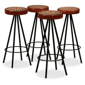 Bar Stools 4 pcs Genuine Leather and Canvas | Afterpay | zip | Laybuy