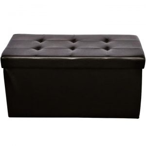 Brown Faux Leather Folding Storage Seat Bench Stool Ottomans |