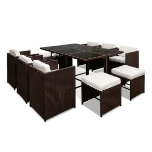 Capetown Dining 10 Seater Set - Brown & White | Afterpay | zipPay