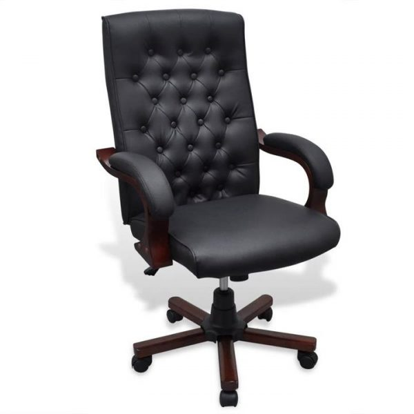 Chesterfield Office Chair Artificial Leather Black | Afterpay | zip |