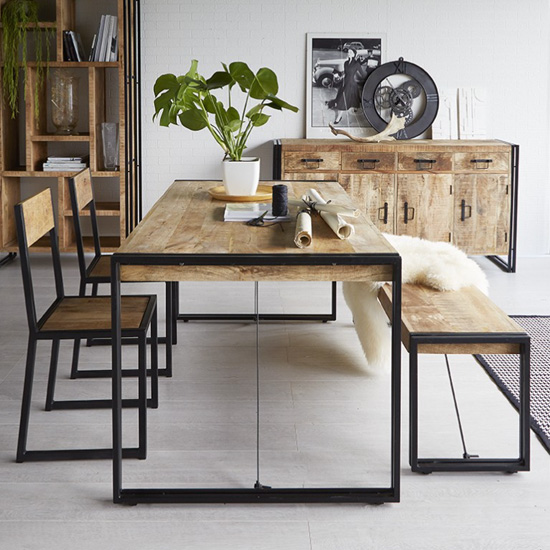 Clio Industrial Dining Table In Oak With 2 Chairs And Bench