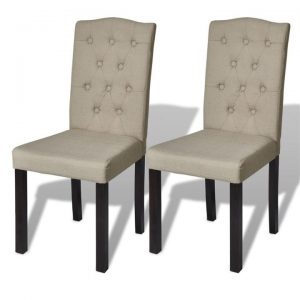 Dining Chairs 2 pcs Fabric Beige | Afterpay | zip | Laybuy