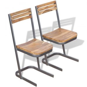 Dining Chairs 2 pcs Solid Teak Wood | Afterpay | zip | Laybuy