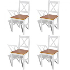 Dining Chairs 4 pcs Wood White and Natural Colour | Afterpay | zip |