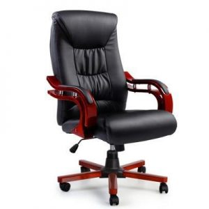 Executive Wooden Office Chair Wood Computer Chairs Leather Seat