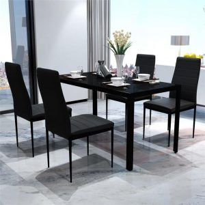 Five Piece Dining Table Set Black | Afterpay | zip | Laybuy