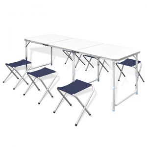 Foldable Camping Table Set with 6 Stools Height Adjustable 180x60cm |