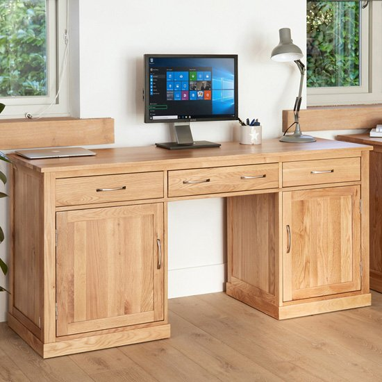 Fornatic Computer Desk In Mobel Oak With 2 Doors And 3 Drawers