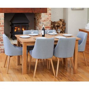 Fornatic Dining Table In Mobel Oak 6 Grey Fabric Harrow Chairs