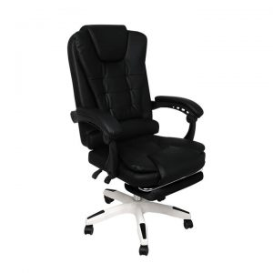 Gaming Chair Office Computer Seat Racing PU Leather Executive Footrest Racer Black