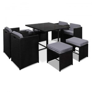Hawaii Dining 9 Seater Set - Black & Grey | Afterpay | zipPay