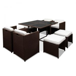 Hawaii Dining 9 Seater Set - Brown & White | Afterpay | zipPay
