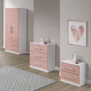 Jasper 3Pc Bedroom Furniture Set In White And Pink High Gloss