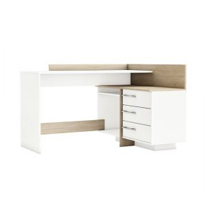 Marvin Corner Computer Desk In Brushed Oak And Pearl White